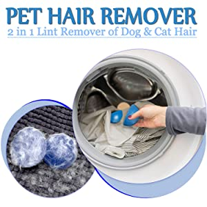 Pet Hair Remover for Laundry, Hair Removal for Clothes Fur Cleaner for Dog Hair, Cat Fur & All Pets - Removes Fur in Dryer, Washable Hair Cleaner, Reusable Sticky Lint Removal Tool (Navy)