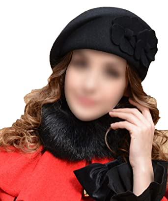 86a80504546 HEWPASKE Women Beret Hat for Women Beanie Female Cap Flower Trilby Wool  Soft Stewardess Hat Black