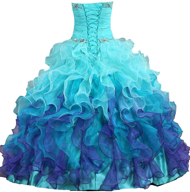 Amazon.com: ANTS Women\'s Gorgeous Strapless Rainbow Quinceanera ...