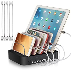 Charging Station for Multiple Devices - 5 Port Cell Phone USB Charger Hub - Quick Charge Multi Phones, Tablet, iPhone, ipad, Kindle and Other Electronic Device Simultaneously