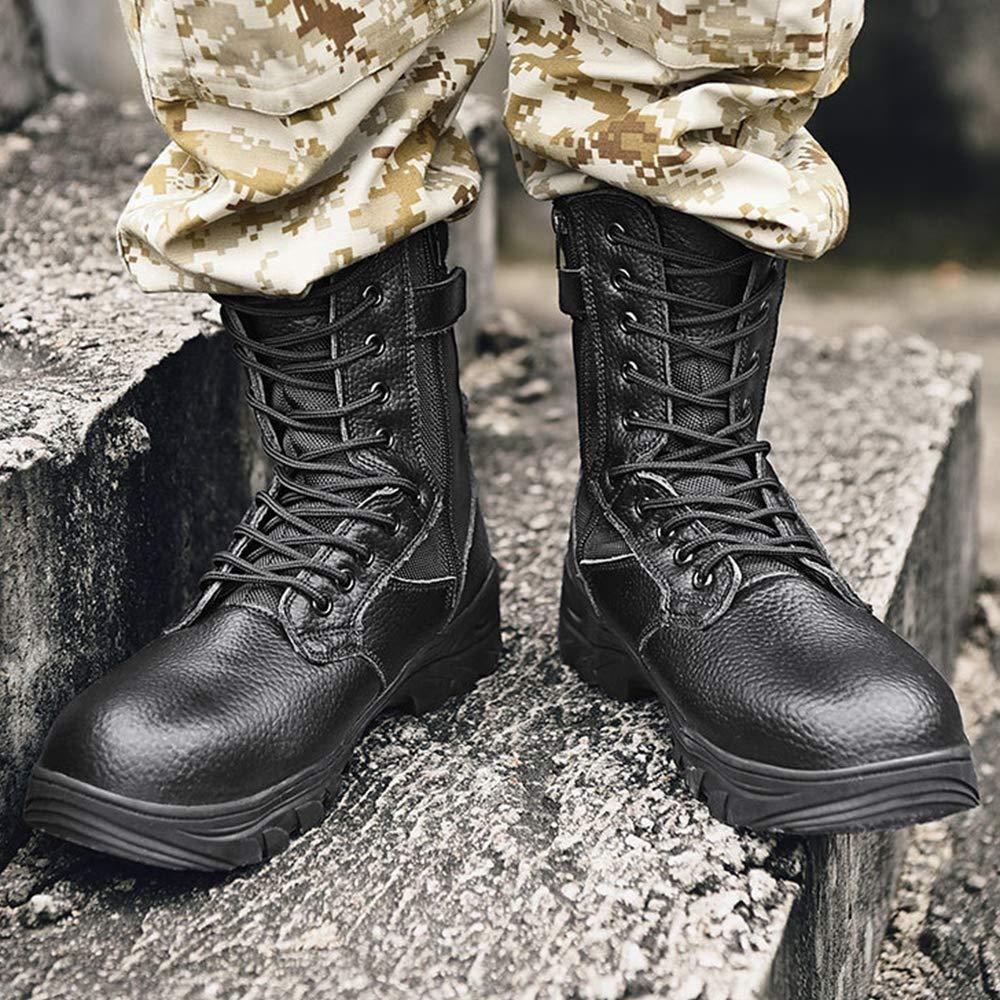 NDHSH Herren Echtleder Kampfstiefel Stahlkappe Schuhe High-Top-Stiefel Wanderschuhe Patrouillenstiefel Schn/ürschuhe Bergschuhe,Beige-39