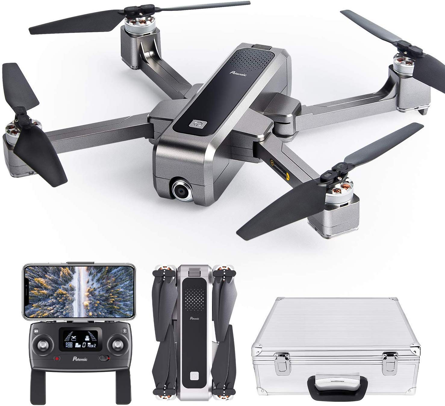 potensic-d88-foldable-drone-5g-wifi-fpv-drone-with-2k-camera-rc-quadcopter-for-adults-and-experts-gps-return-home-ultrasonic-altitude-setting-optical-flow-positioning-brushless-motors-w