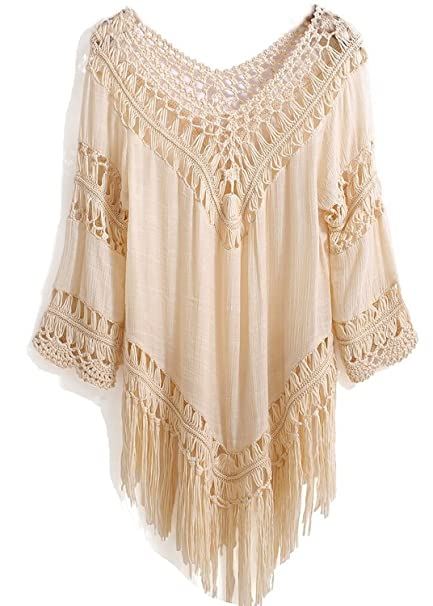 76978b3cbdb Women s Crochet Fringe Boho Bohemian Blouse Top Frayed Blouse Top (beige)  at Amazon Women s Clothing store
