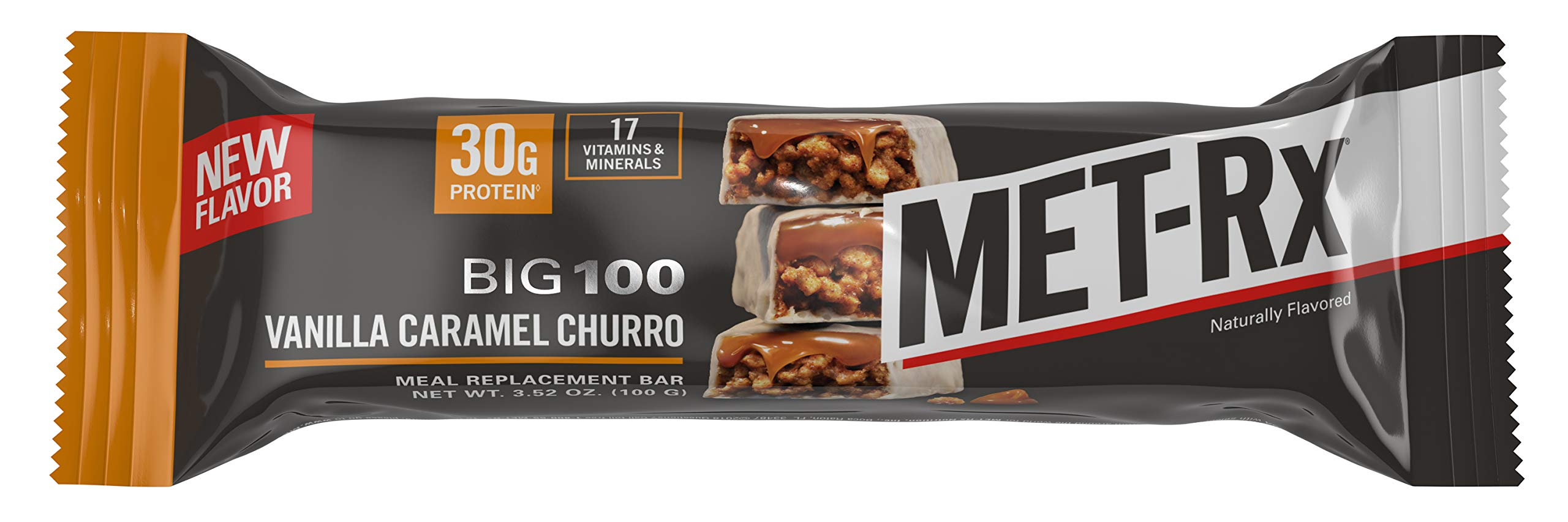 MET-Rx Big 100 Colossal Vanilla Caramel Churro Bar, 9 Count
