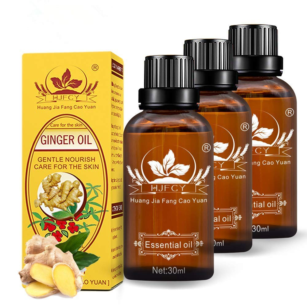 3 Pack Ginger Oil for Lymphatic Drainage,2020 100% Pure Essential Oil, Natural Body Massage Ginger Oil for Swelling,Skin and Relieve Muscle Soreness,SPA Massage Oils-30ml