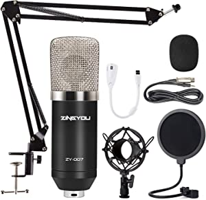 Condenser Microphone ZINGYOU ZY-007 Professional Cardioid Mic Bundle for Pc/Laptop Recording Studio YouTube Podcast Vocal Broadcasting Gaming with Scissor Arm Stand Shock Mount and Pop Filter (Silver)