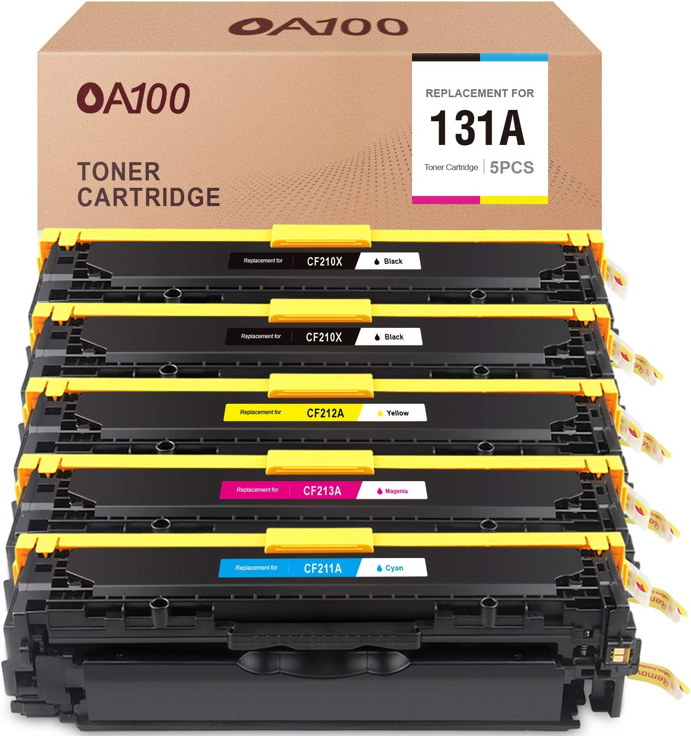OA100 Remanufactured Toner Cartridge Replacement for HP 131A CF210A CF211A CF212A CF213A for Laserjet Pro 200 Color M251nw M251n MFP M276nw M276n (Black Cyan Magenta Yellow, 5-Pack)