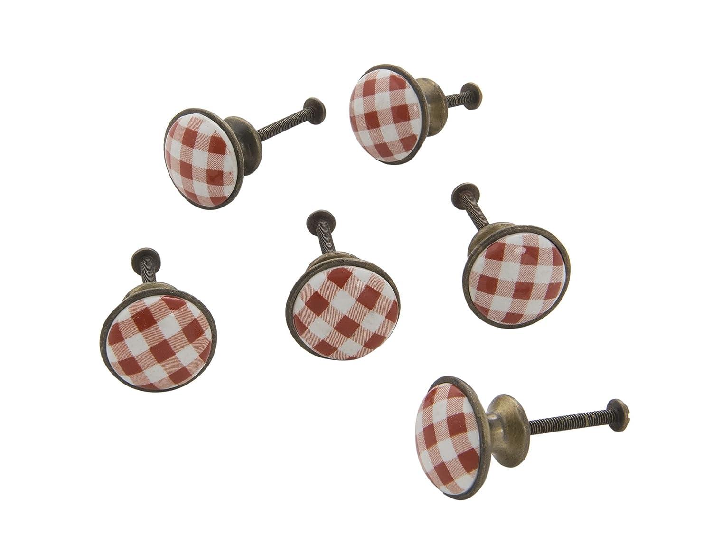 6 Piece Dritz Home 47055A Ceramic /& Metal Red Gingham Knob 6 ea
