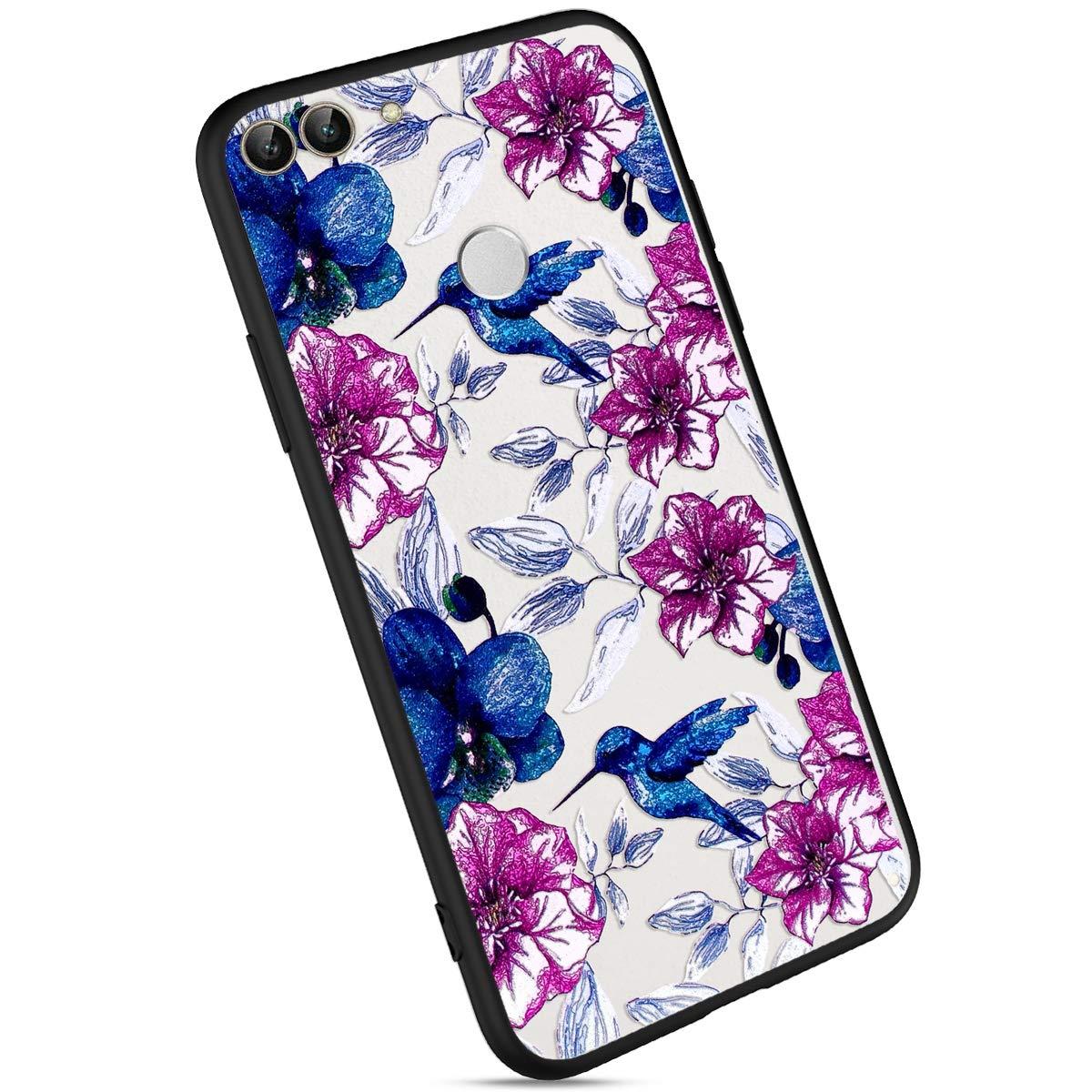Ysimee Coque Huawei P Smart/Enjoy 7S, É tui Motif de Fleurs Floral Plastique Dur Housse de Protection Bord en Silicone Noir Opaque Anti-Rayures Ultra Mince et Lé ger Coque pour Huawei P Smart, Motif#1