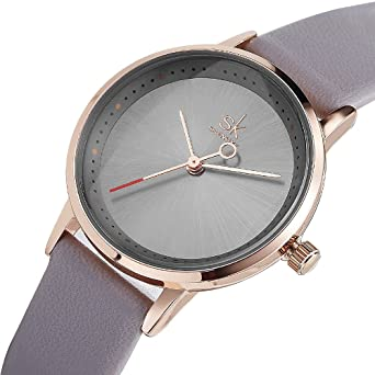 Women Waterproof Watches Leather Band Round Case Fashion Ladies Watches Relojes Mujer (8045 Grey)