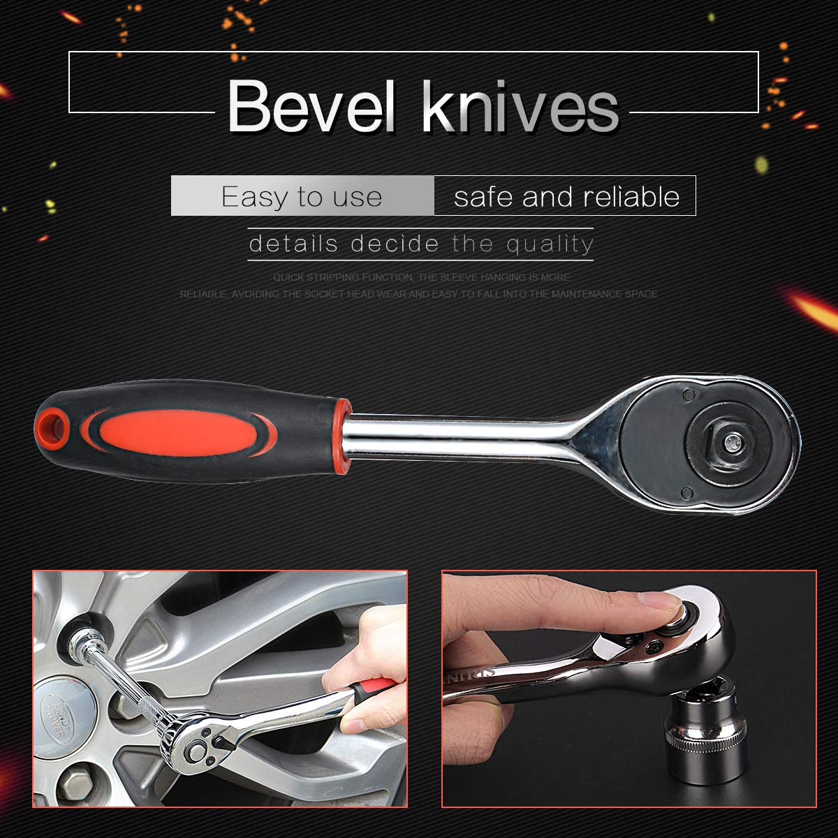 1//4 Inch Wrench 155mm Length 24 Teeth Chrome Vanadium Steel Drive Pear Head Quick Released Ratchet Handle and Extension Bar KATUR Ratchet Wrench for Socket