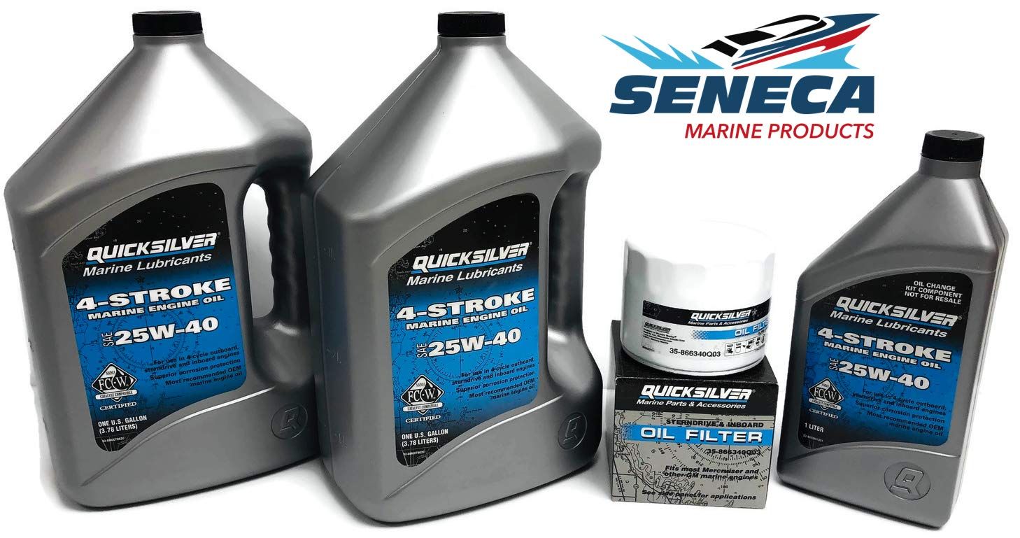 MERCRUISER 496 Mag/HO 2001-2017 496/8.1L V8 Quicksilver Performance 25W40 Synthetic Blend Oil Change Kit with Oil Filter 866340Q03 by SENECA Marine