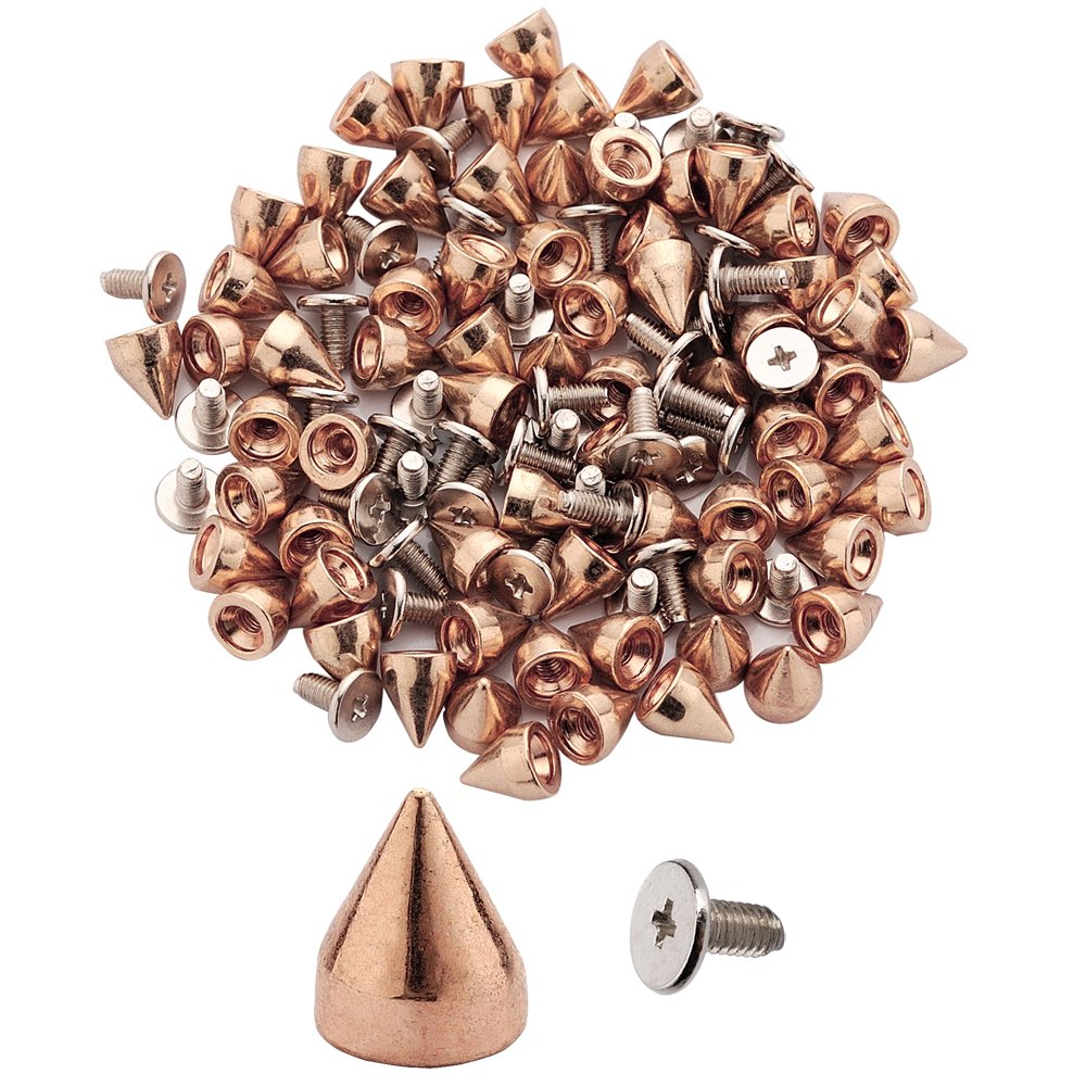 100pcs Cone Spikes Screwback Studs DIY Craft Cool Rivets Punk Stud Hex Cone Style 7x9mm 1/4x3/8 (Gun Black) Y&W Creating