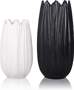 TERESA'S COLLECTIONS Ceramic Decorative Vase, Black and White Petaloid Modern Flower Vases for Home Decor, Mantel, Table, Living Room, Office Decoration-Set of 2