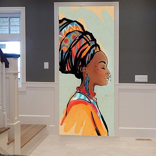 A.Monamour Stickers Muraux Autocollants Tribal Traditionnel Africain Femmes  Portrait Peinture Image 3D Imprimer Vinyle Chambre Porte Autocollants ...