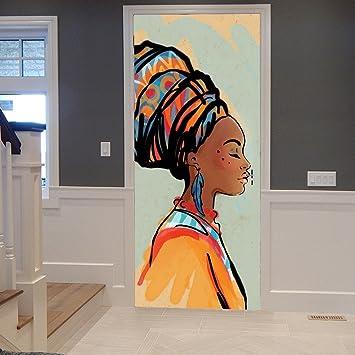 A.Monamour Stickers Muraux Autocollants Tribal Traditionnel Africain Femmes  Portrait Peinture Image 3D Imprimer Vinyle