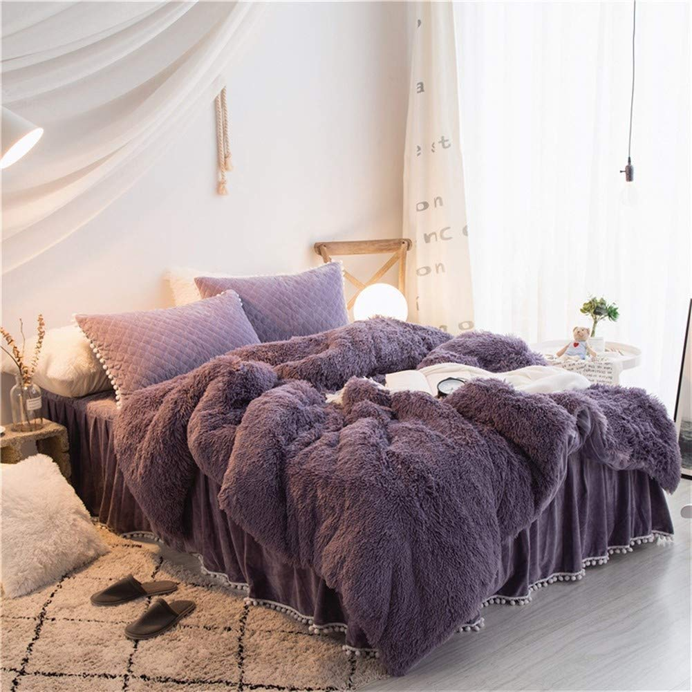 Ksainiy Nordic Fashion Design Flannel Quilt Cover Long Velvet Comfort Soft Fabric Sheets Winter Warm Bedding Home Purple Four-Piece (Size : 1.2m) by Ksainiy