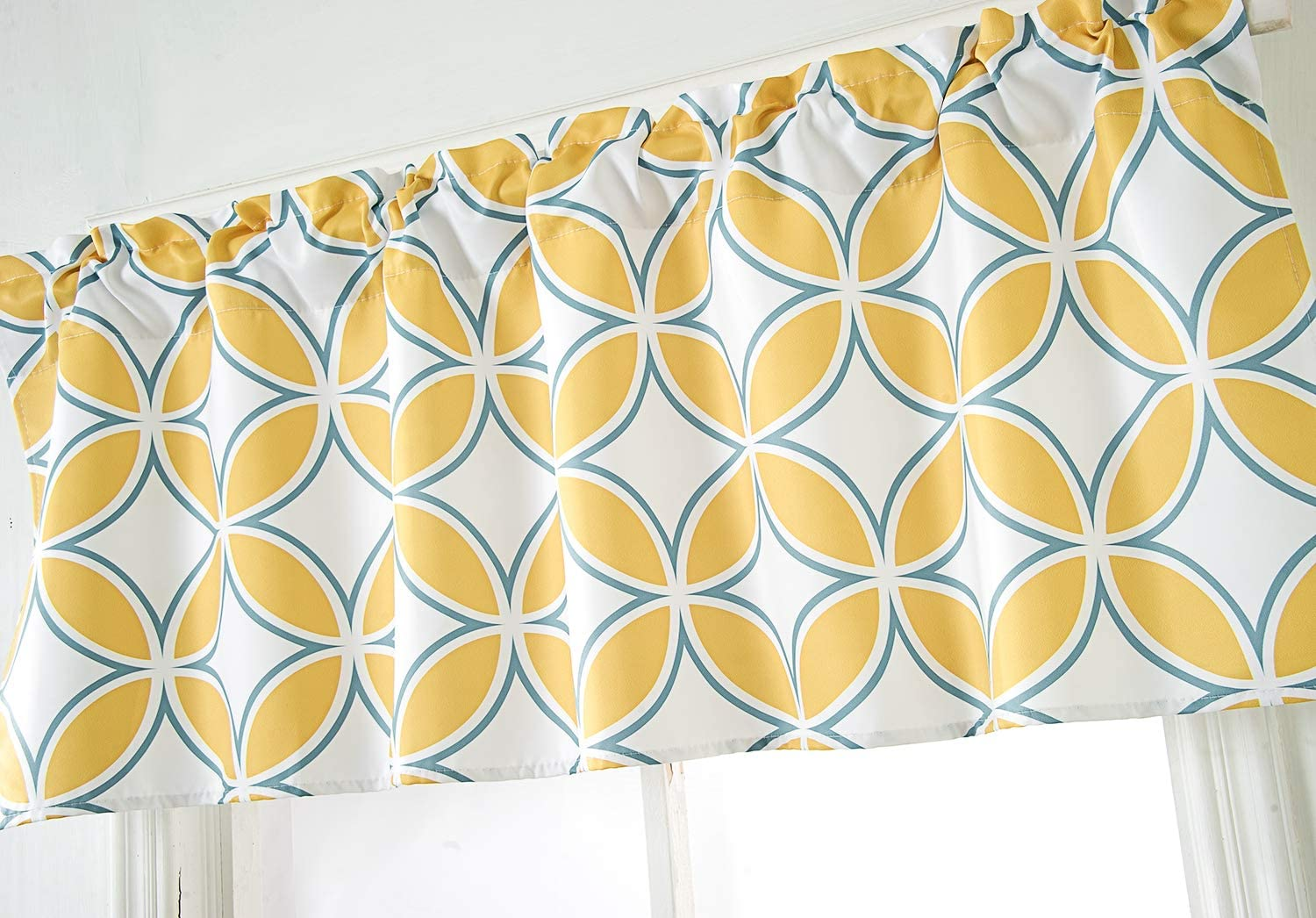 Annlaite Geo Valance for Windows12 by 12 inches Elegant Colorful Printed  Room Darkening Window Curtain Valance for Kitchen/Bathroom/Living ...