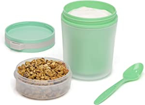 Goodful Yogurt to Go Food Storage Canister with Toppings Lid, Double Wall Snacking Container, 14-Ounce Bottle, Green
