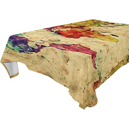 Imobaby Jennifer Vintage World Map Colorful Paint Watercolor Retro  Tablecloth For Dining Table Good Decor