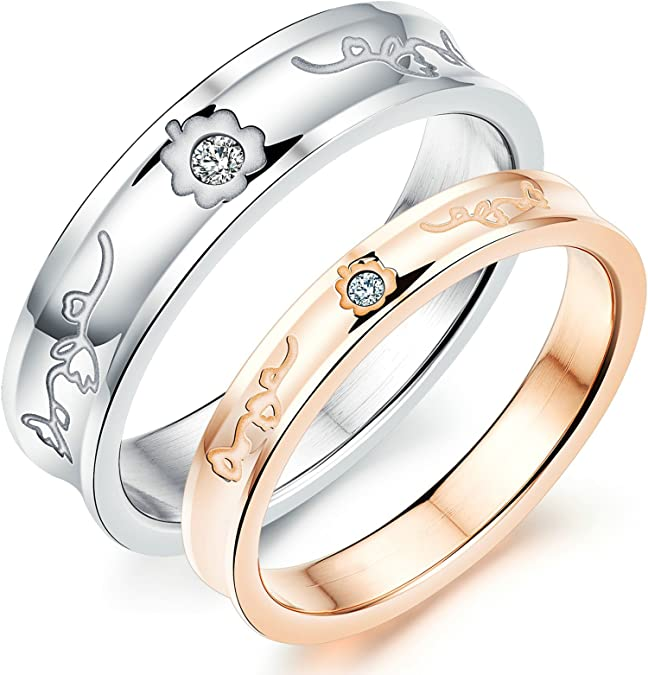 Aooaz Women Men Partner Rings Wedding Rings Rings Stainless Steel Band Ring Rose Gold 6Mm Zirconia Rings Novelty Jewelry Gift