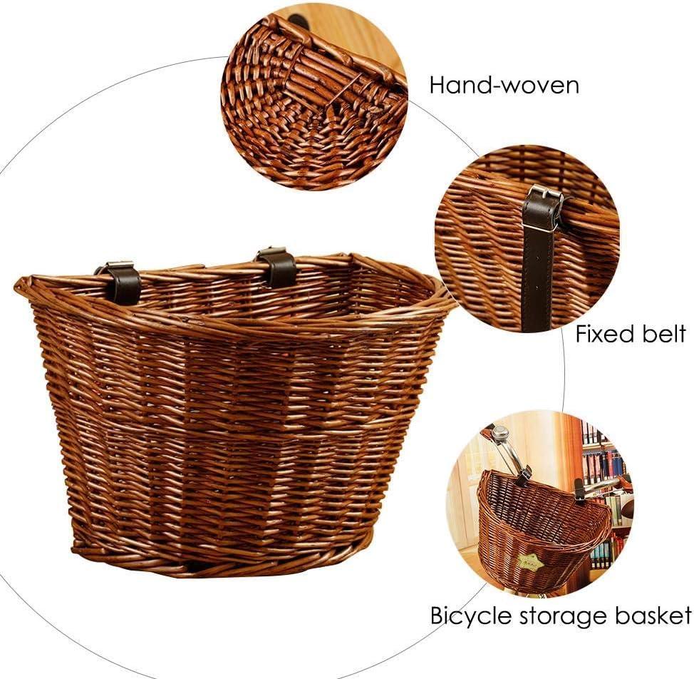 Adjustable Belt Craftsmanship Bicycle Wicker Storage Front Handlebar Basket Universal Bike Front Handlebar Wicker Basket Folk Hand-Woven