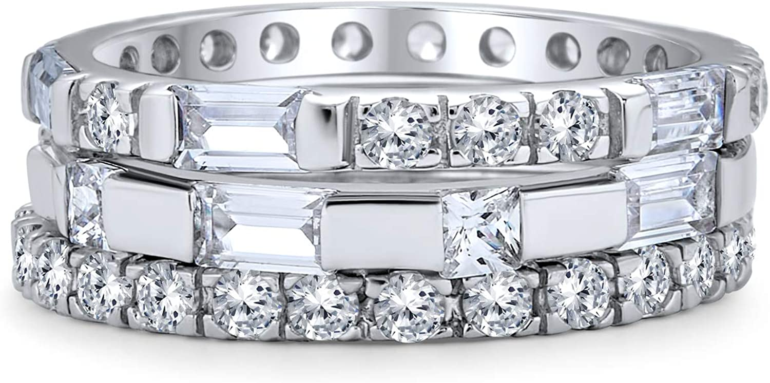Geometric Cubic Zirconia AAA CZ Round Baguette Set Of Three Stackable Eternity Wedding Band Ring Set For Women 925 Sterling Silver