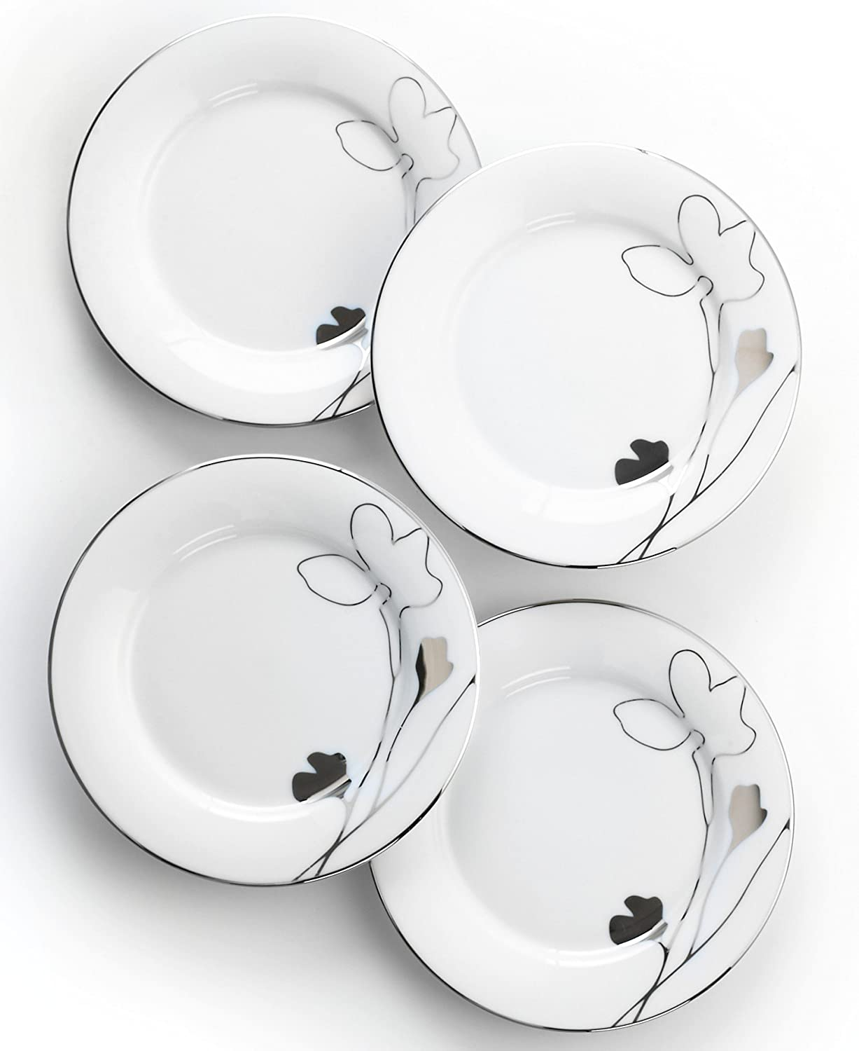 amazoncom charter club home set of 4 grand buffet platinum silhouette appetizer plates accent plates accent plates - Horderves Plates