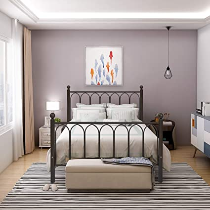 242b6a4a18fc1 HOMERECOMMEND Metal Bed Frame Platform with Headboard and Footboard Box  Spring Replacement Mattress Foundation Hevay Duty