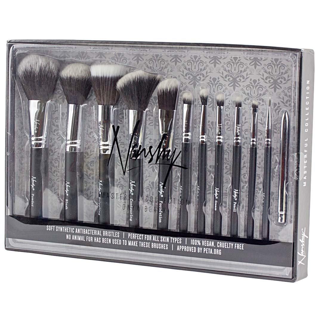 08eff10b01ce Nanshy Masterful Collection Makeup Brush Set - Onyx Black or Pearlescent  White (Onyx Black)  Amazon.co.uk  Beauty