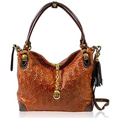 11a836491bf Amazon.com  Marino Orlandi Italian Designer Monogram Cognac Leather ...
