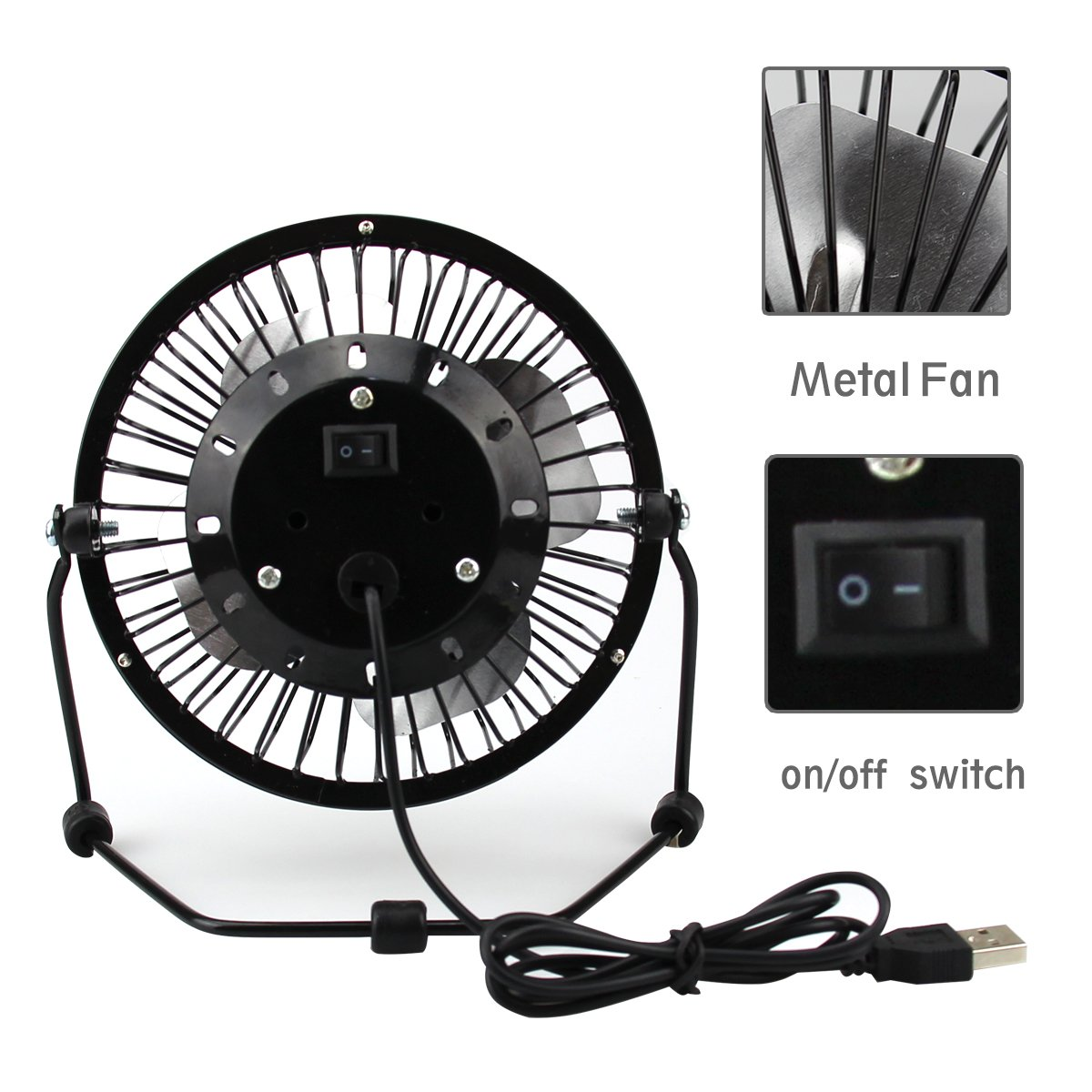 USB Mini Desktop Fan, Naisidier 4 inch Personal Mini Table Fan with Aluminum Blades in Quiet Wind - Perfect for Home Office Laptop, Black