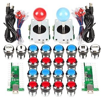 EG STARTS 2 jugadores Classic Arcade Contest DIY Retropie Cabinet Kits USB Encoder para Joystick Juegos