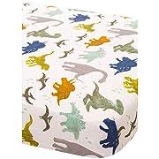 Little Unicorn Cotton Muslin Fitted Sheet - Dino Friends, Blue, Green, Navy