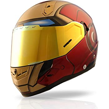 NENKI NK-856 Full Face Iron Man Motorcycle Helmet For Adult and Youth Street Bike with Dual Visor DOT Approved(Size XL)