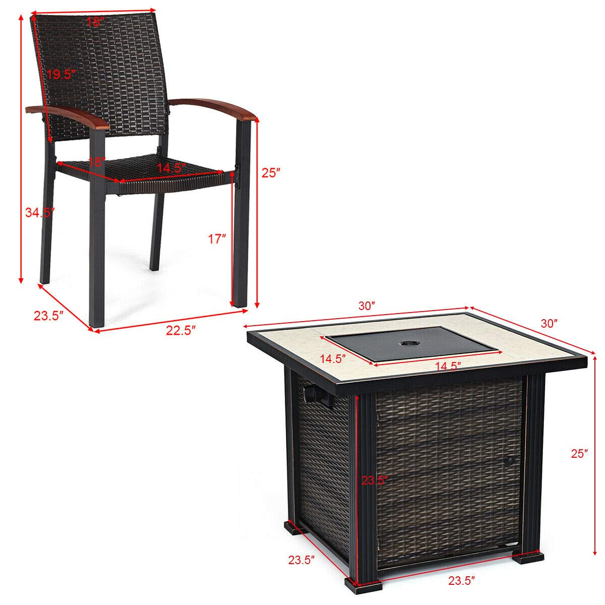 Tangkula 50,000 BTUs Square Propane Gas Fire Pit Table Set 5 PCS Heater Outdoor Table with 4 Rattan Chairs