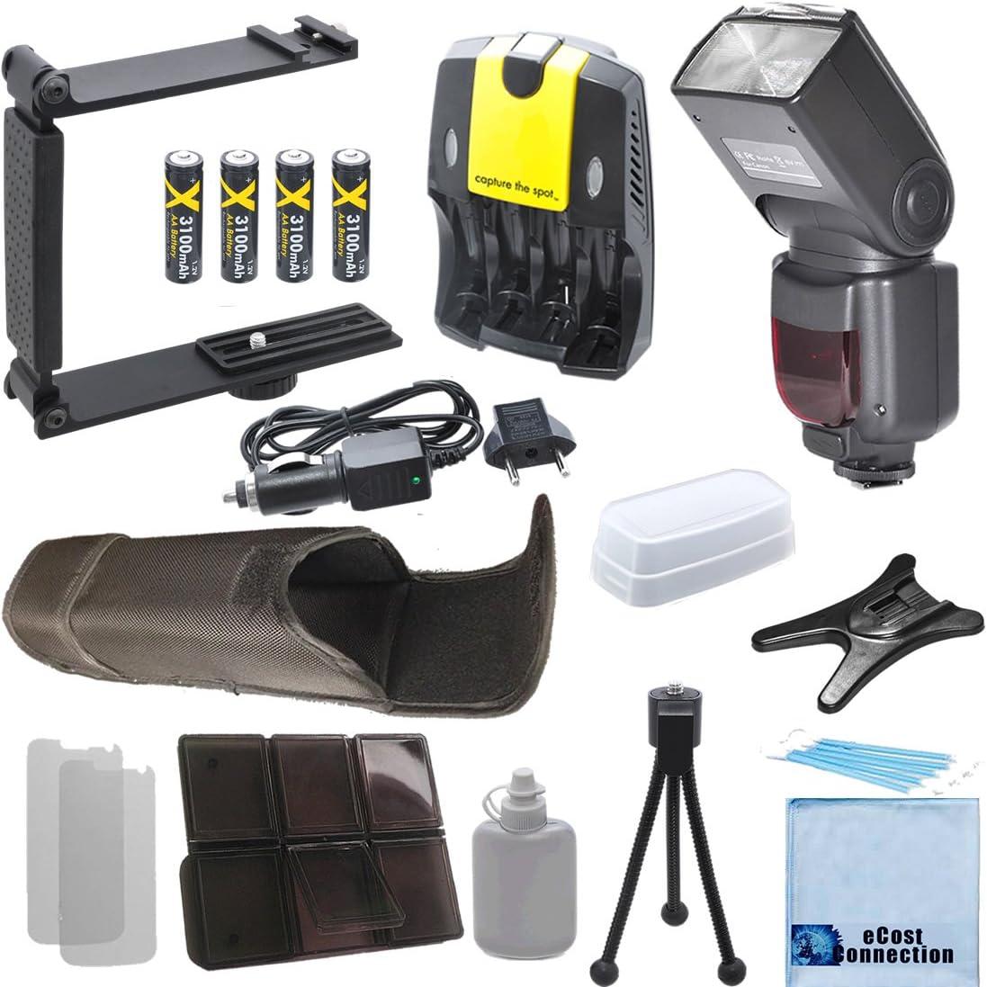 Digital Auto Power Zoom Auto-Focus Flash w//LCD Display f//Nikon Universal Mini Portable Folding Bracket Deluxe Accessories Kit for Nikon DSLR Camera 4 AA Battery Charger