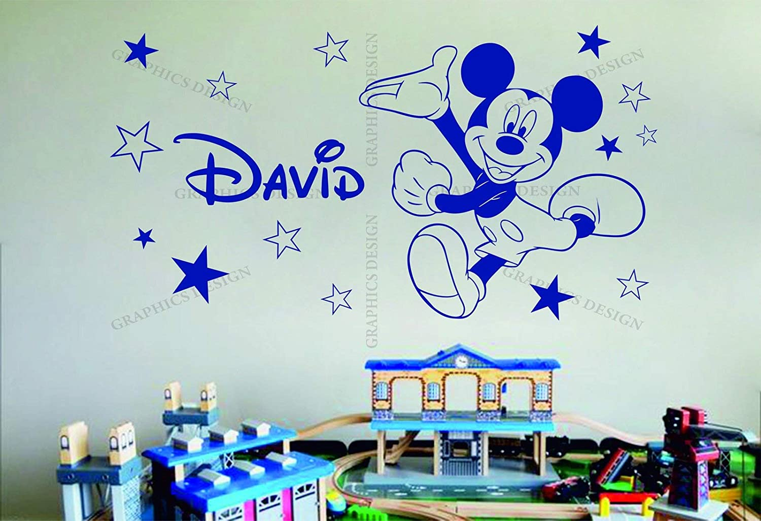 Wall Vinyl Decals Mickey Mouse Disney Stars Personalized Name Decor Vinyl Wall Sticker Decal Bedroom Made in USA