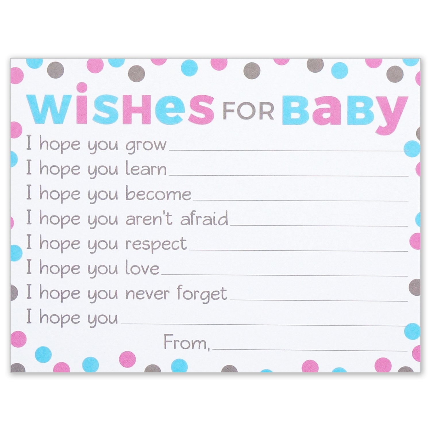 Amazon Wishes for Baby Cards Pink and Blue Polka Dots