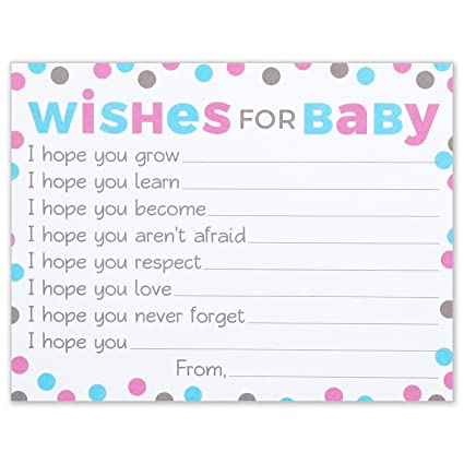 wishes for baby cards pink and blue polka dots boy or girl baby shower