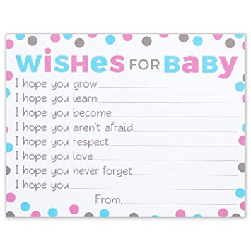 Amazon.com : Wishes For Baby Cards   Pink And Blue Polka Dots   Boy Or Girl Baby  Shower Wish Card   4.25 X 5.5 Inches   Pack Of 25 : Office Products