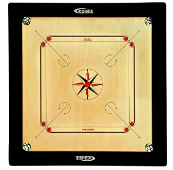 GSI Superior Matte Finish Club Carrom Board for Professionals Clubs with Coins Striker and Boric…