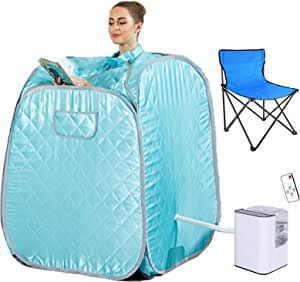 Angotrade Portable Sauna Spa for Home with Chair Remote, Personal Steam Sauna Spa for Weight Loss, Detox and Relax Steam Sauna (Green)