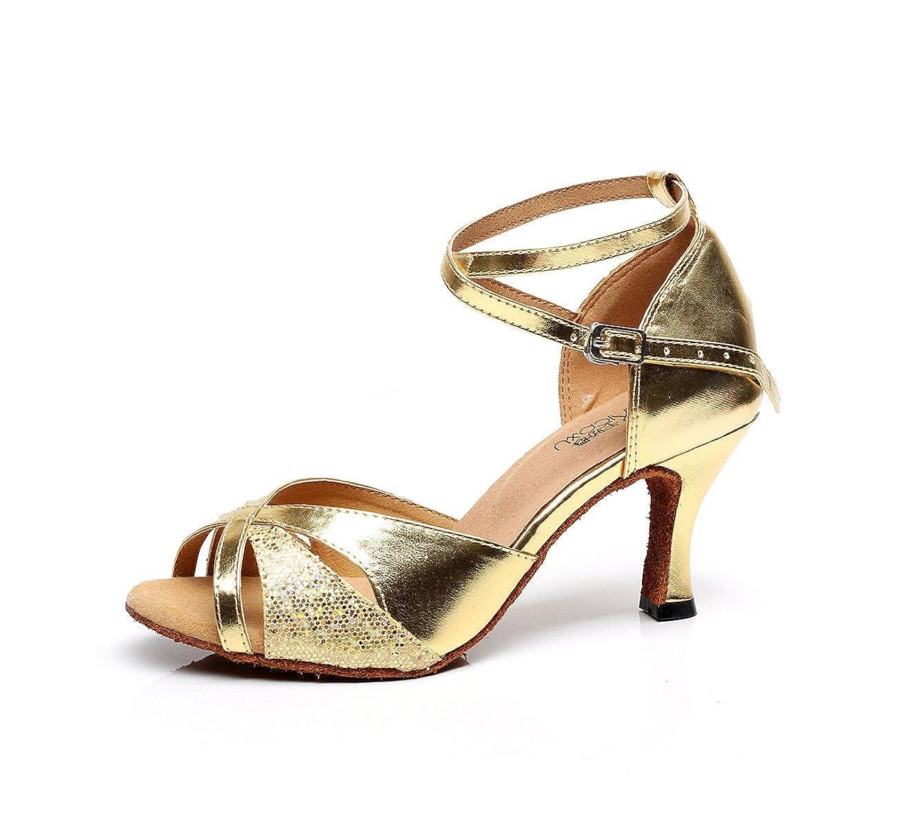 JSHOE Chaussures Femmes Criss Cross Strap Boucle Chaussures Métal Criss Danse Chaussures Salsa/Tango//Samba/Moderne/Jazz Chaussures Sandales Talons Hauts,Gold-heeled7.5cm-UK7.5/EU42/Our43 - 1da7419 - piero.space
