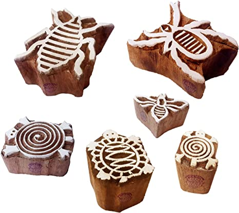 Textile Print Blocks Stylish Insect Bee Pattern Wooden Stamps Set of 6