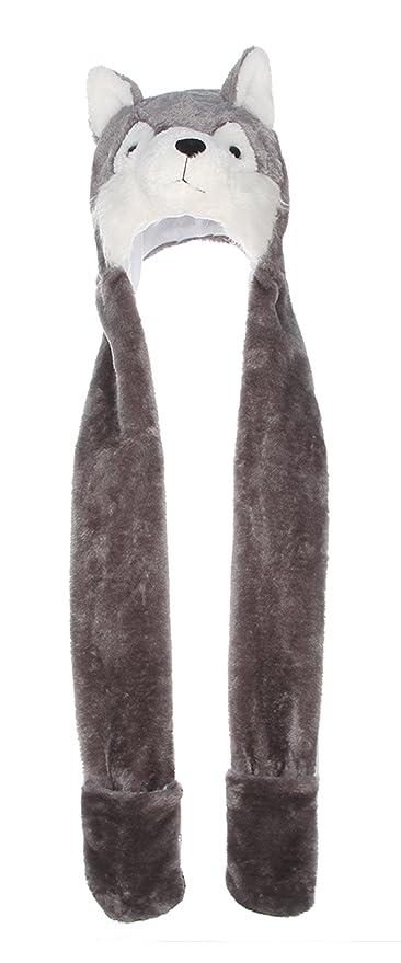 La Vogue-Cappello Sciarpa Guanti 3 in 1 Berretto Animale Adulti Bambini  Peluche Felpato Cosplay Lupo 60cm  Amazon.it  Abbigliamento a72481f70a6b