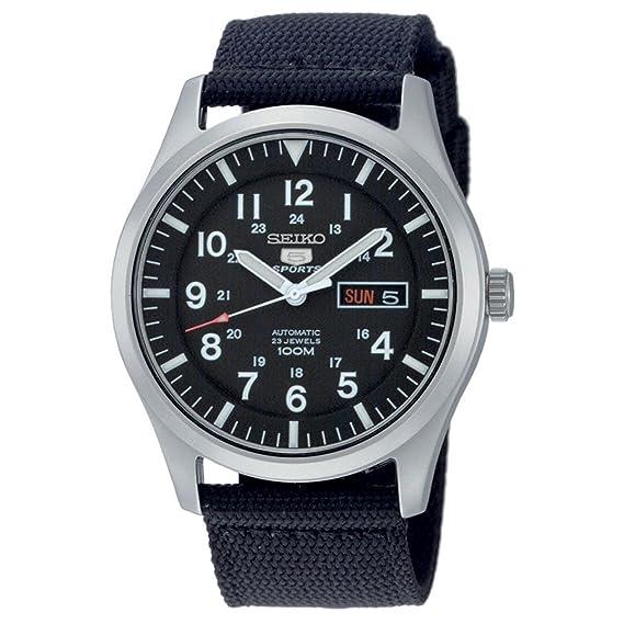 64fb64542ee8 Seiko Reloj Analógico Automático para Hombre con Correa de Tela - SNZG15K1   Amazon.es  Relojes
