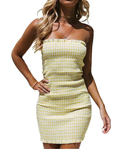 6cd750e9c31 YOLI Womens Strapless Wrap Chest Dress Pleated Checkered Tight-Fitting  Shoulder Dress Bodycon Dress at Amazon Women s Clothing store