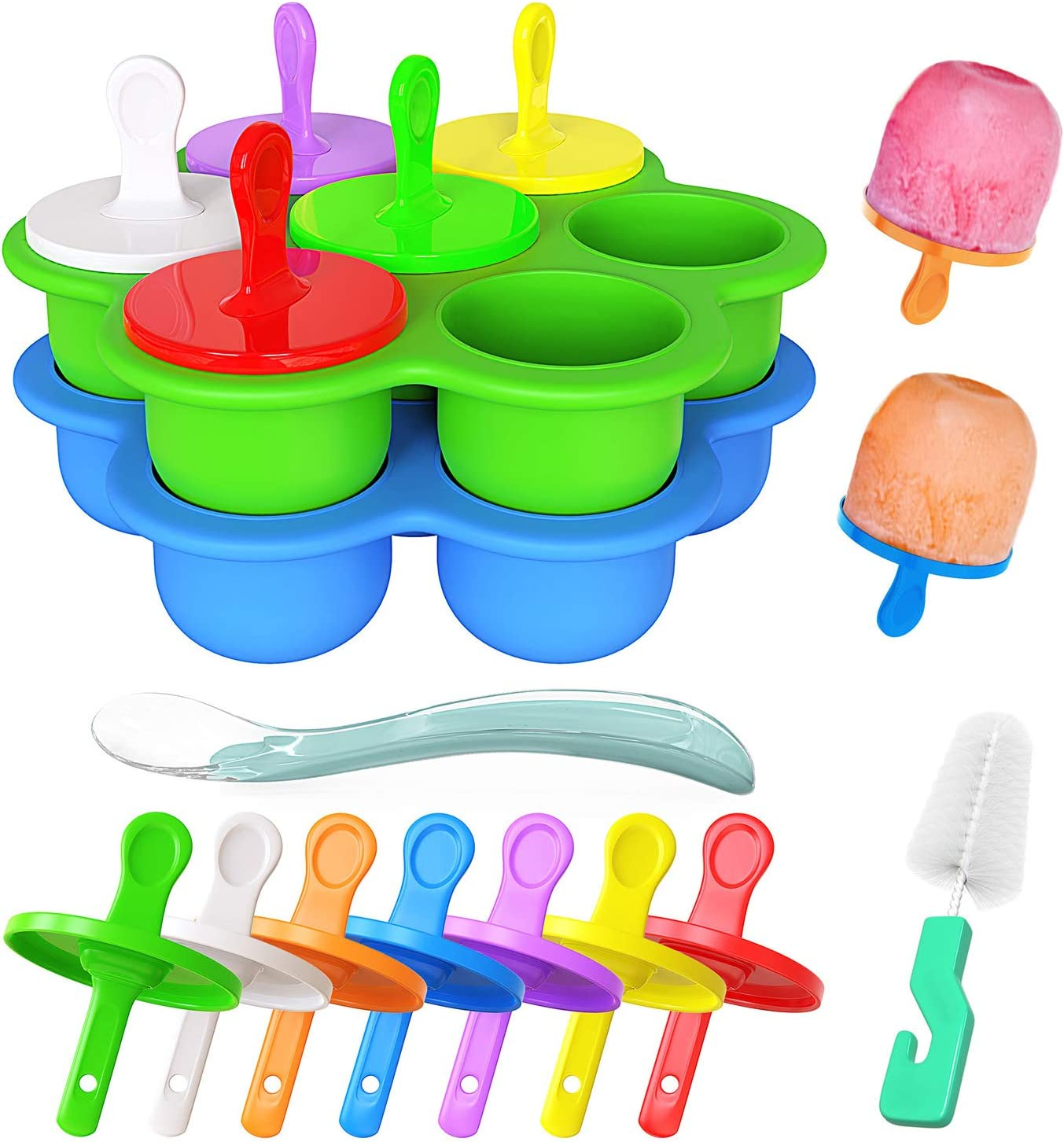Ozera 2 Pack Silicone Popsicle Molds, Mini 7-cavity Ice Pop Molds, Food Grade DIY Popsicle Molds as Baby Food Freezer Trays, Come with Silicone Spoon and Cleaning Brush