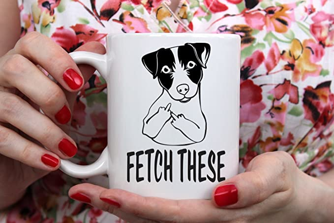 Kaimebien Fetch This Dog Middle Finger Funny Coffee Mug